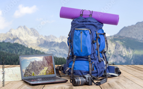 travel photographer backpack Wallpaper Mural
