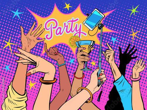 Party dancing selfie drinks - 103450680