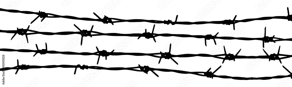 Fototapeta Barbed wire seamless background. Vector fence illustration