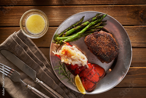 top down overhead view of steak and lobster dinner Canvas Print