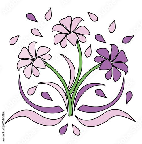 Fiori Vettoriali.Set Of Flowers Vector Isolated On White Set Di Fiori Vettoriali