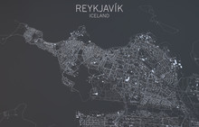Cartina Reykjavik, Vista Satellitare, Islanda