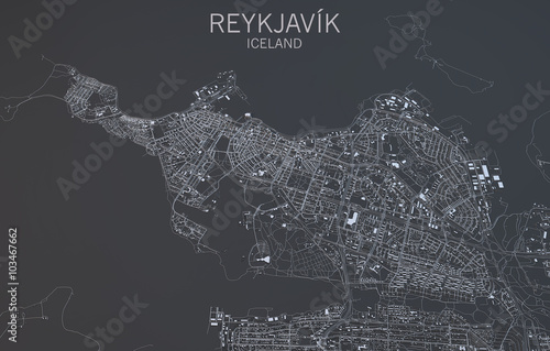Cartina Reykjavik, vista satellitare, Islanda Canvas Print