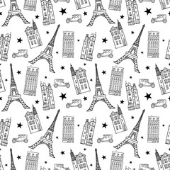 Tapeta Vector Paris Streets Black White Drawing Seamless Pattern with Eifel Tower, houses, cars and stars.