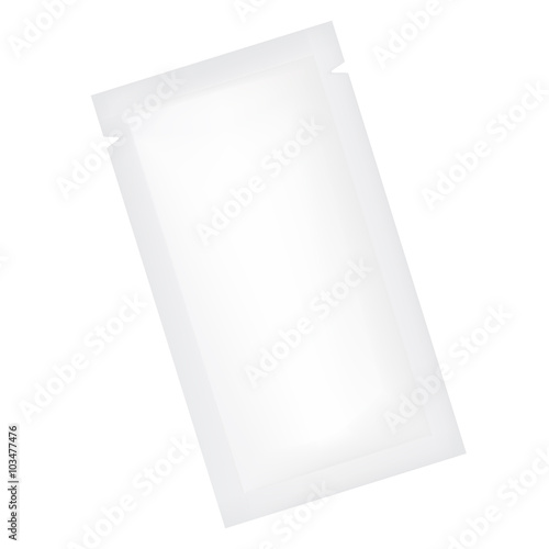 Photo  VECTOR PACKAGING: White gray rectangle sachet foil packet on isolated white background