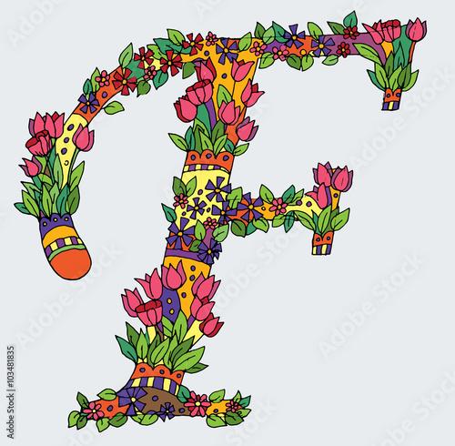 Fototapeta Decorative zentangle letter obraz na płótnie