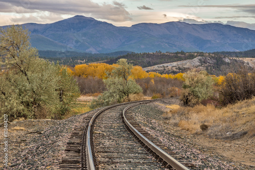 Railroad Curve in the Tracks in Autumn