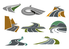 Highway And Road Icons For Transportation Design