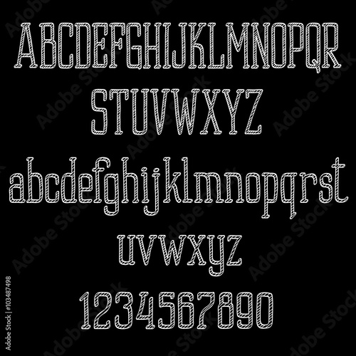Fototapety, obrazy: Chalk alphabet letters and numbers