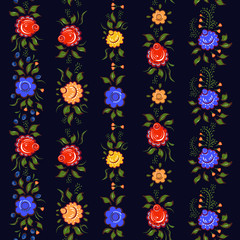 Seamless Folk borders. Isolated colorful flowers and leafs on black background.