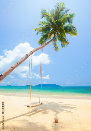 Foto op Canvas Tropical strand tropical island beach with coconut palm trees and swing