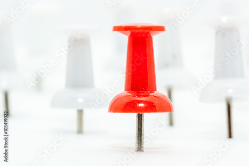 Fotografia, Obraz  Red Push pin in front and white push pins at back