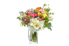 Beautiful Bouquet Of Bright Flowers In Vase Isolated White