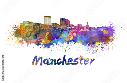 Manchester NH skyline in watercolor splatters with clipping path