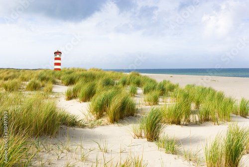 Spoed Foto op Canvas Noordzee Leuchtturm mit Dünen