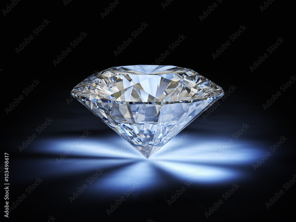 Fototapeta  classic cut diamond and reflections of light, sparkles. black background. luxury and precious concept. wealth. nobody around.