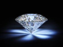 Classic Cut Diamond And Reflections Of Light, Sparkles. Black Background. Luxury And Precious Concept. Wealth. Nobody Around.
