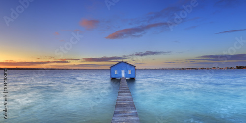 Sunrise at Matilda Bay boathouse in Perth, Australia Canvas Print