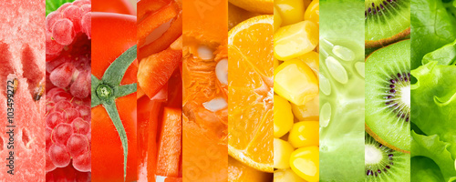 Poster Cuisine Background of fruits, berries and vegetables