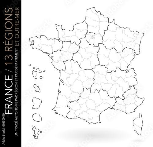 Carte de France muette / 13 régions et outre-mer avec départements (un tracé autonome par zone ...