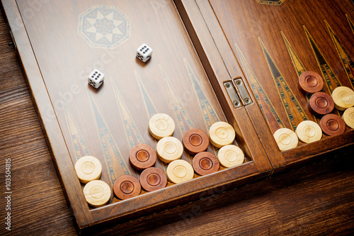 Canvas Color detail of a Backgammon game with two dice close up