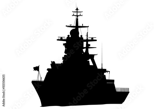 Photo Silhouette of a large warship on a white background