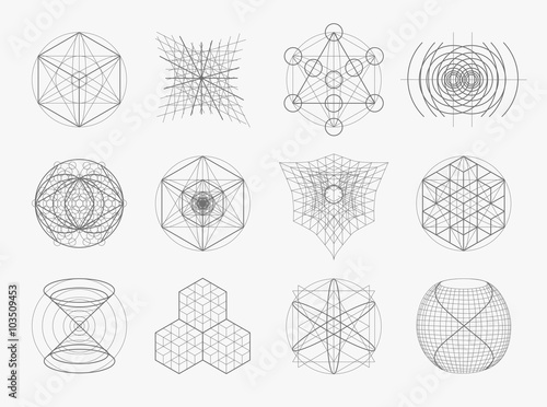 Sacred geometry symbols and elements set. Canvas Print