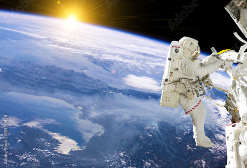 Deurstickers Nasa Astronaut in space on station - elements of this image furnished by NASA
