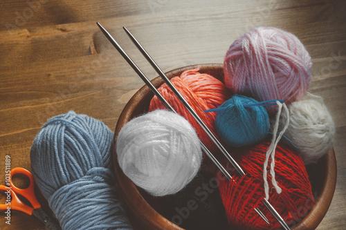 Fotografie, Obraz  Threads for knitting with spokes