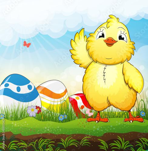 Autocollant pour porte Ferme Chicken and easter eggs
