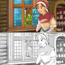 Cartoon Medieval Scene Of A Woman In The Kitchen - With Coloring Page - Illustration For The Children