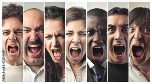 Screaming people Tablou Canvas