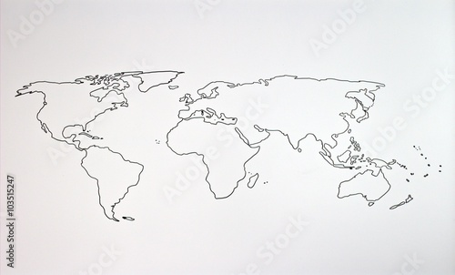 In de dag Wereldkaart The world map