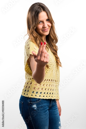 Photo  Pretty girl coming gesture