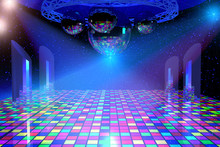 Disco Lights Background With M...