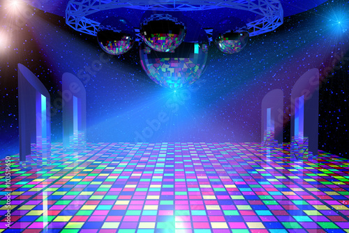 Fotografia Disco lights background with mirror balls, chrome lattice and shining stars