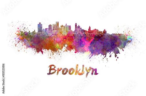 Brooklyn skyline in watercolor