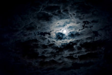 Night Sky With Full Moon And Mystic Clouds. Spooky Midnight, Horror Concept.