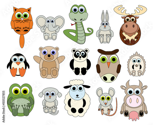 Canvas Prints Set of Funny Animals