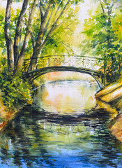 Obraz na Szkle Summer landscape with bridge over river in park.Picture created with watercolors.