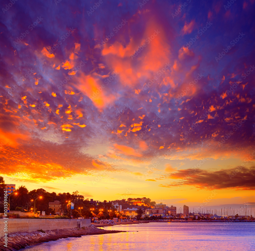 Photo  Denia sunset las Rotas in Mediterranean Spain