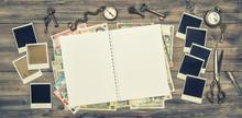 Open Travel Journal, Polaroid ...