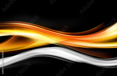 Acrylic Prints Abstract wave Orange White Waves Abstract Design