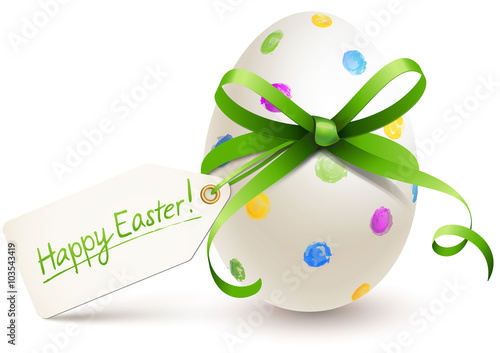 Photo  painted easter egg with bow and label