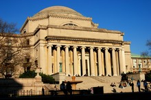 New York City - November 25, 2006:  Students On The Steps In Front Of The Library Of Columbia University