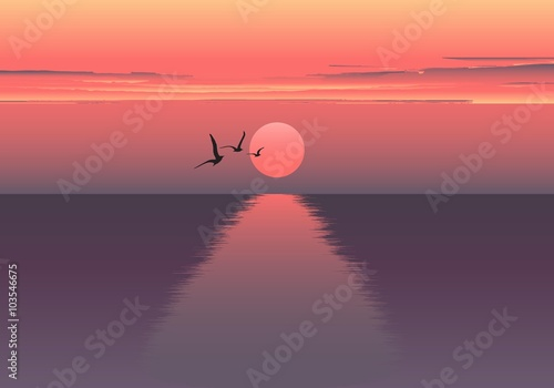 Fototapeta Vector horizontal illustration of sunset over the sea and ship. beautiful sunrise at the sea. the ship embarks on a journey. Sea birds. obraz
