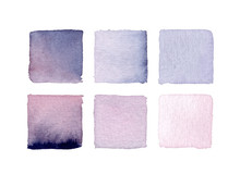 Set Of Watercolor Lilac Squares
