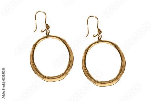 Fototapeta Gold earrings isolated