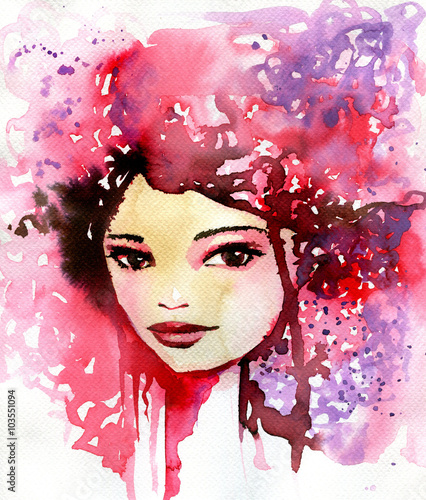 Photo Stands Painterly Inspiration Abstract watercolor illustration depicting a portrait of a woman.