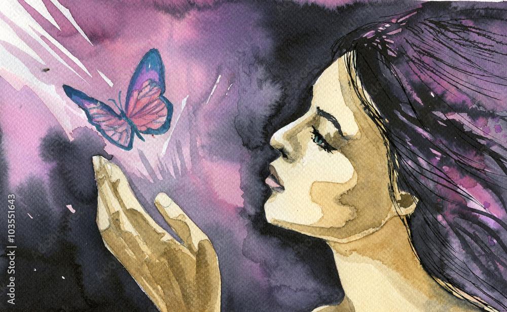 Fototapety, obrazy: Akwarela ilustracja przedstawiająca portret kobiety z motylem